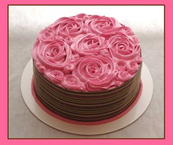 Small Pink And Brown Wedding Cake With Rose Decorations Chocolate Cake Buttercream Decorating