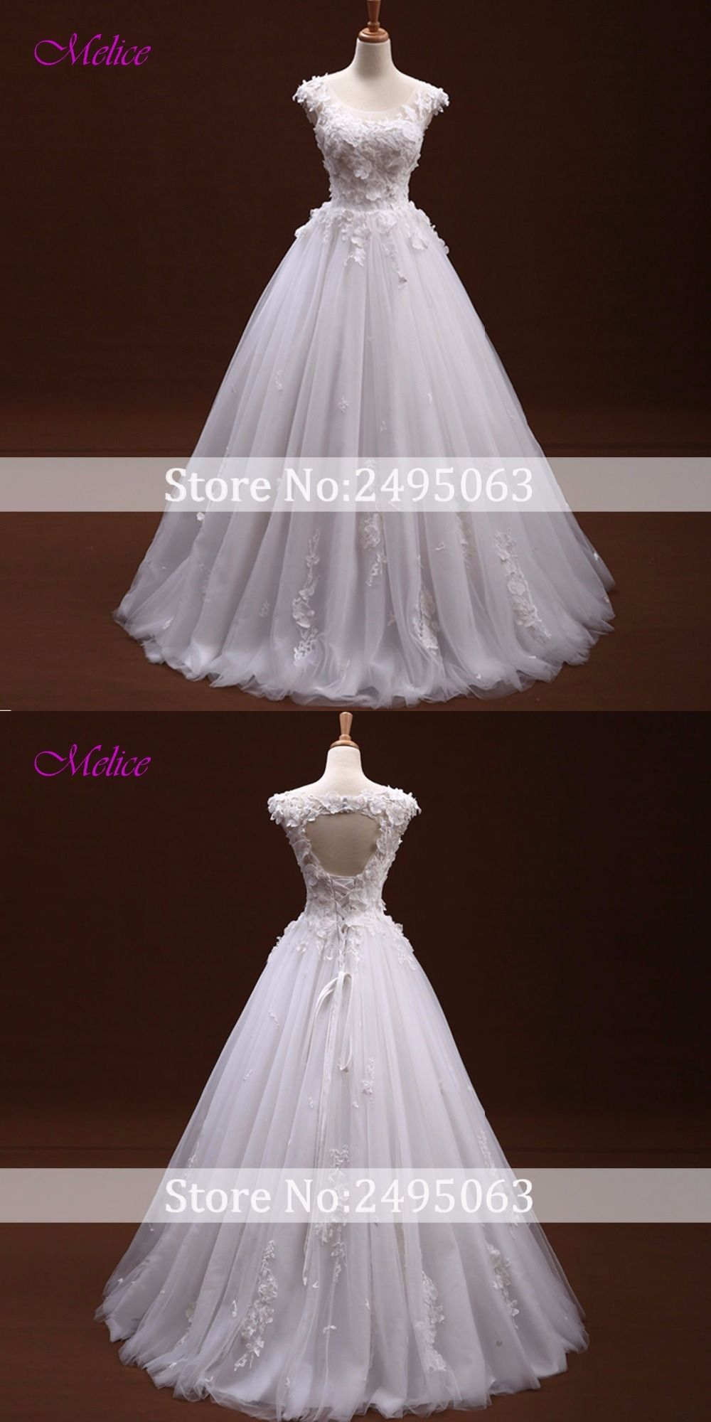 Melice graceful scoop neck lace up aline bohemian wedding dress