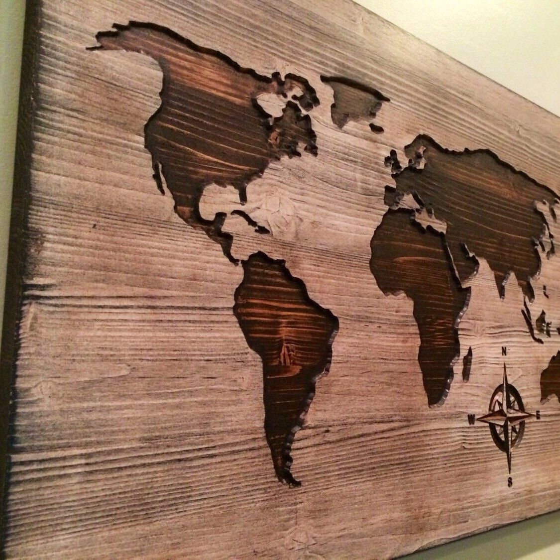 Carved wooden world map wood wall art world map home decor world carved wooden world map wood wall art world map home decor world map decal world map poster distressed chic shabby housewarming gumiabroncs Image collections