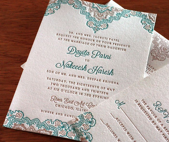 Wedding Card Designs Ideas: Teal And Gold South Asian Inspired Letterpress