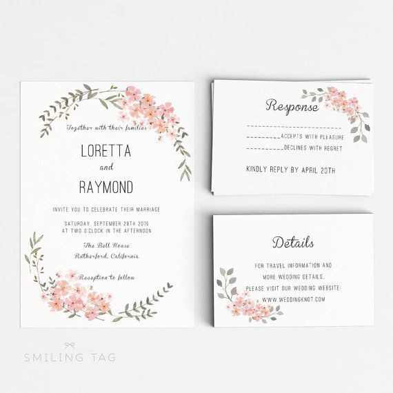 Printable Wedding Invitation Template - Floral Wedding Editable Word ...