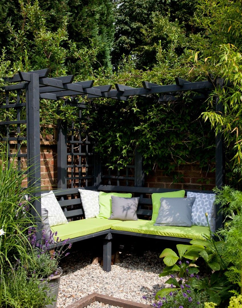 Modern Garden With Arbour And Climbing Plants Corner Pergola, Small Garden  Pergola, Corner Garden