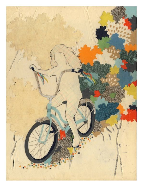 captures the colors and textures you sense while pedaling.