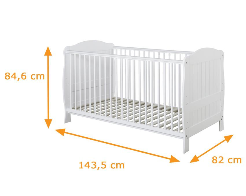 Brand New Pine Cot Bed 140 x 70cm Junior Bed with Cot Bed Mattress