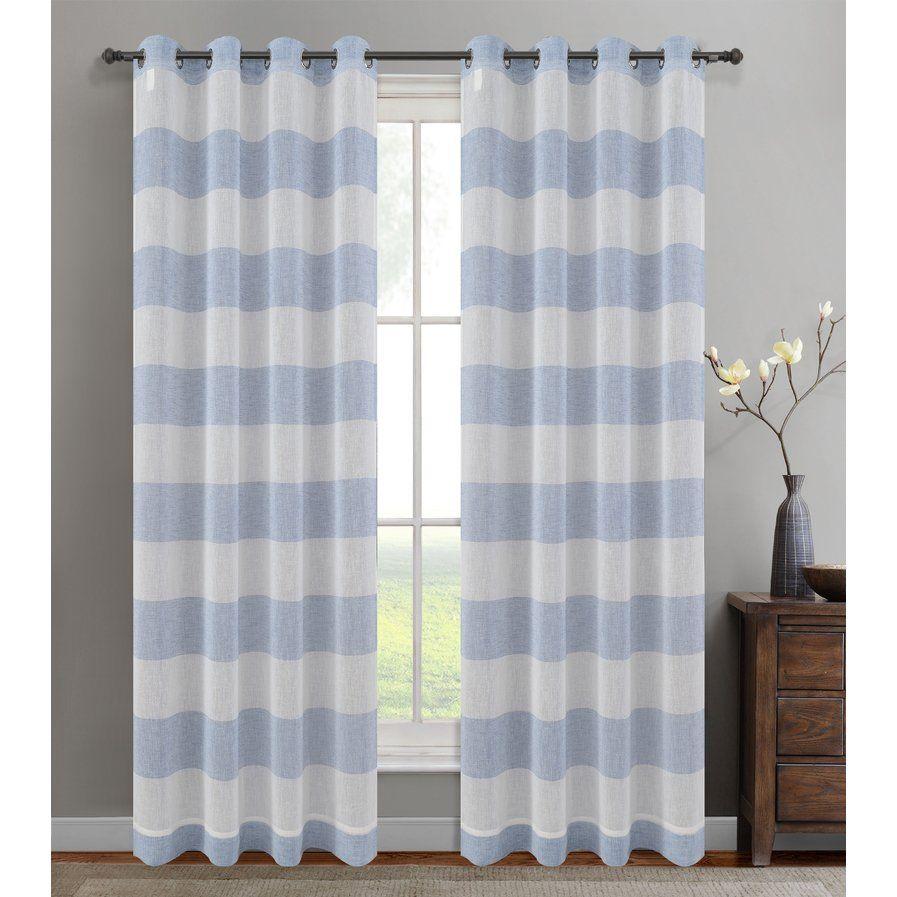 Nassau Striped Sheer Grommet Curtain Panels Set Of 2 Panel Curtains Grommet Curtains Curtains