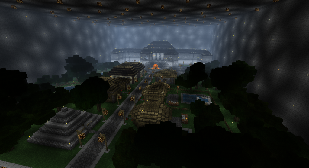Minecraft underground town lake google search mincraft for Find a builder in your area