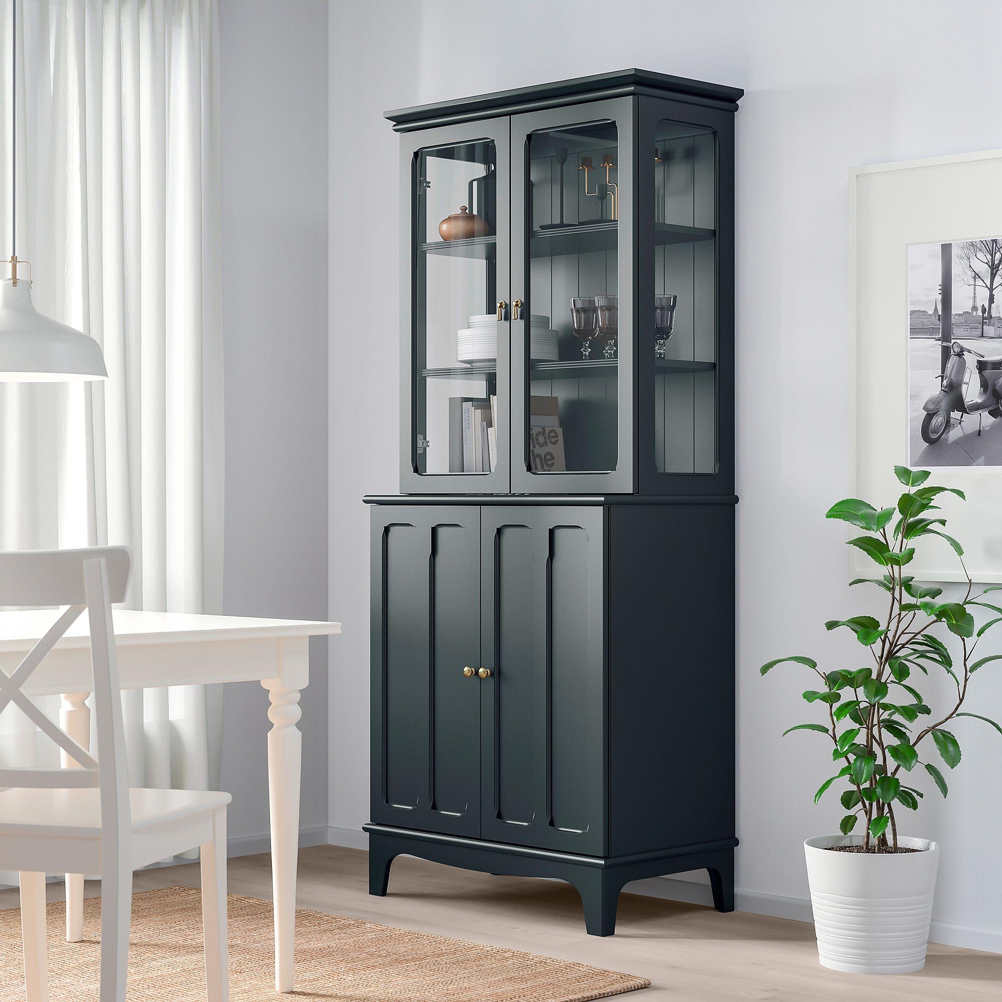 Lommarp Skap Med Vitrindorrar Mork Blagron 86x199 Cm Ikea Glass Cabinet Doors Glass Door Dark Blue Green