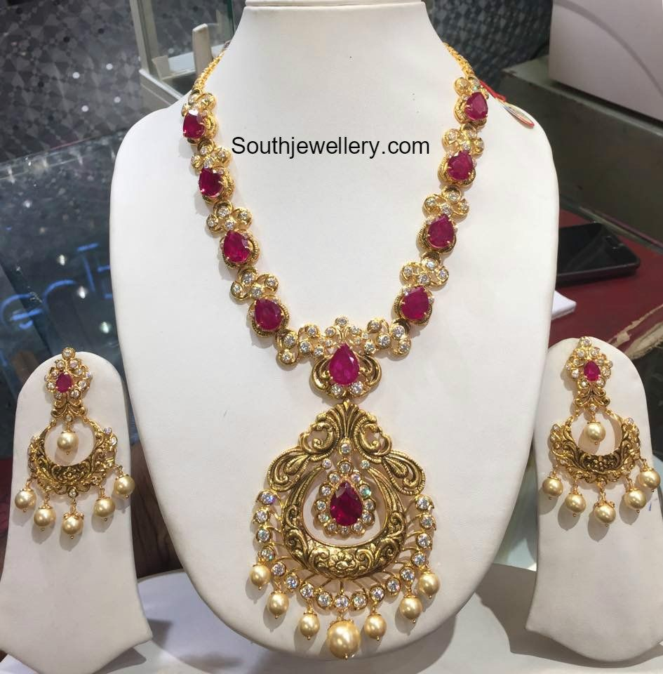 CZ Ruby Necklace Set | addicted to jewelry | Pinterest | Gold ...