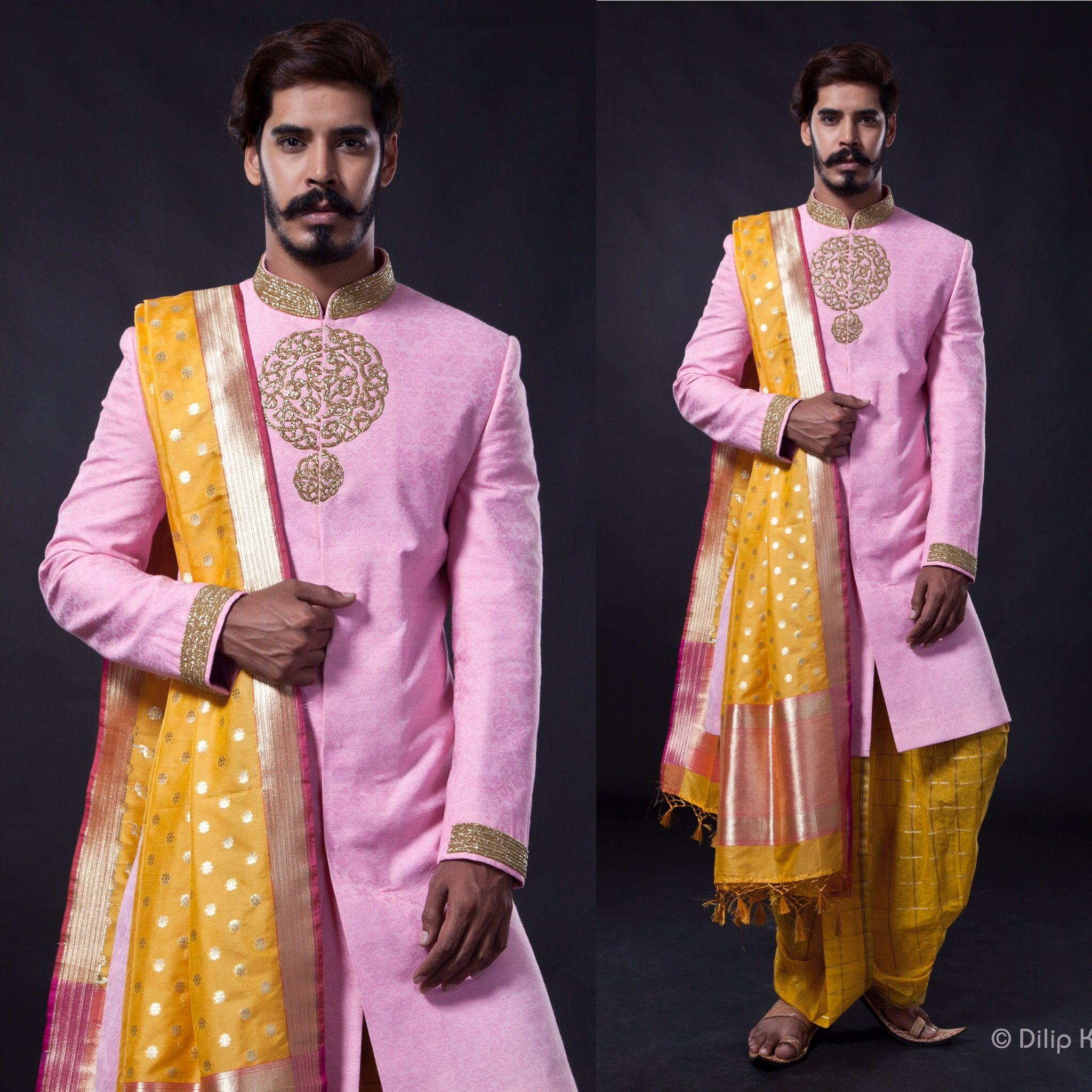 Pale pink with yellow sherwani set by SAGAR TENALI..@9885812840 ...