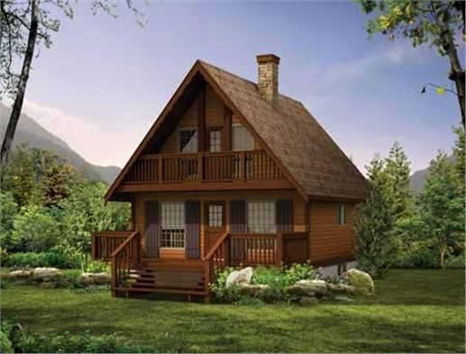 this set of house plans are enhanced by a steep gable roof scalloped fascia boards - Mountain Cabin Plans