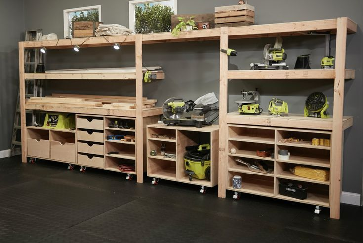 Create all the space you need with these DIY Built-in Shelves by Ana White. This design offers great storage and easy access for just about anything! Download the plans and start turning your space into your own Dream Workshop. #BuiltIn #NATION #RYOBI #shelves #woodworking art #woodworking crafts #woodworking ideas #woodworking materials #woodworking projects