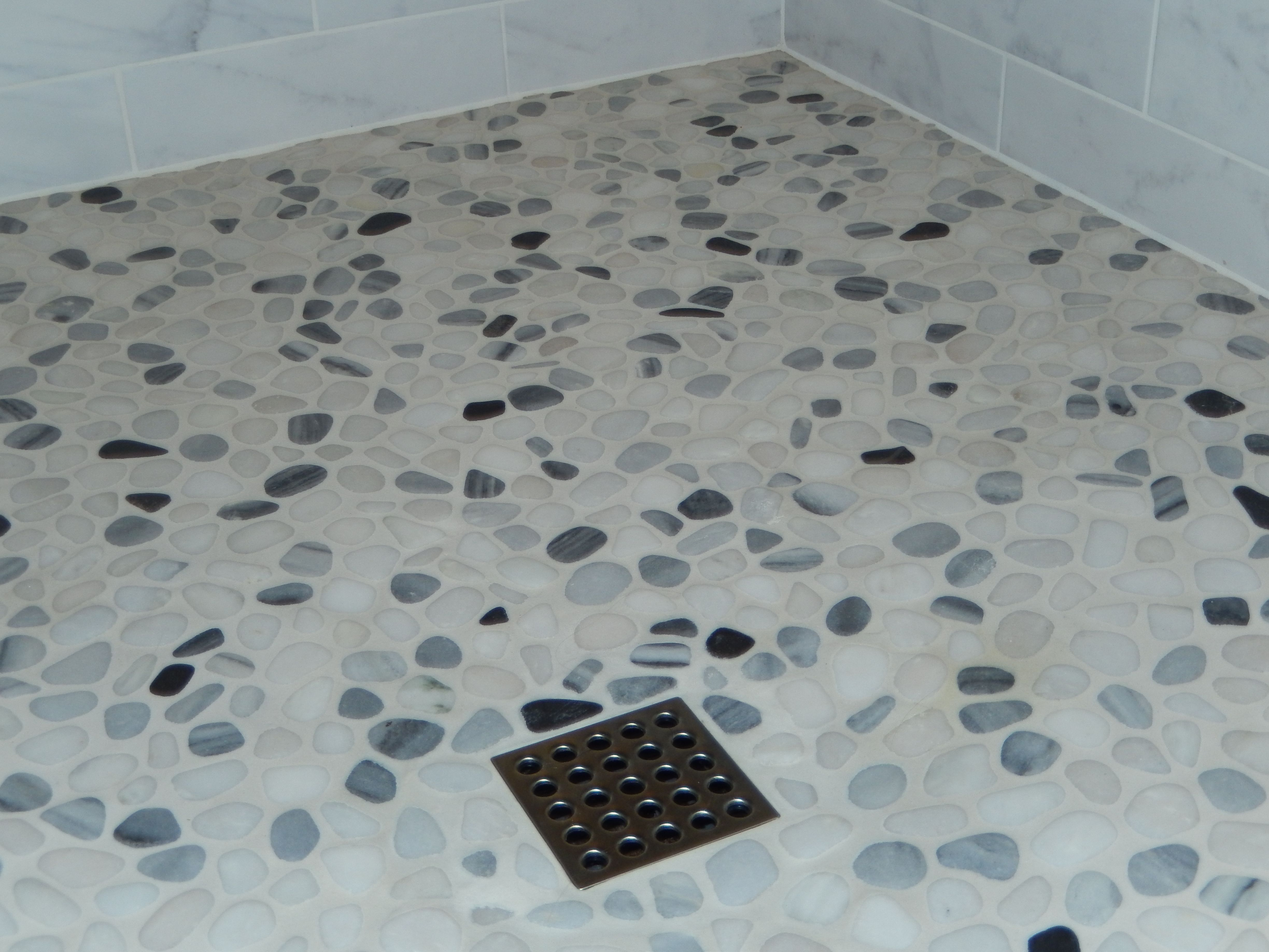 Pebble shower floor marble tile walls and square drain bathroom pebble shower floor marble tile walls and square drain dailygadgetfo Choice Image