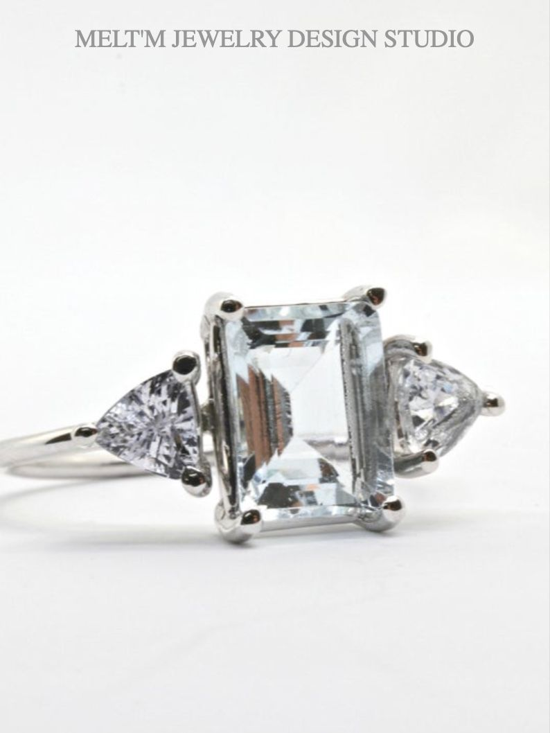 14k White Gold Aquamarine White Sapphire Engagement Ring Etsy In 2020 White Sapphire Engagement Ring Engagement Ring White Gold Art Deco Engagement Ring