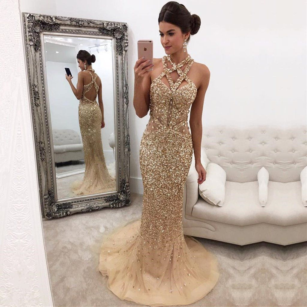 Luxury Crystal Beaded Cross Back Champagne Mermaid Prom Evening Dresses 95ac78b3a150