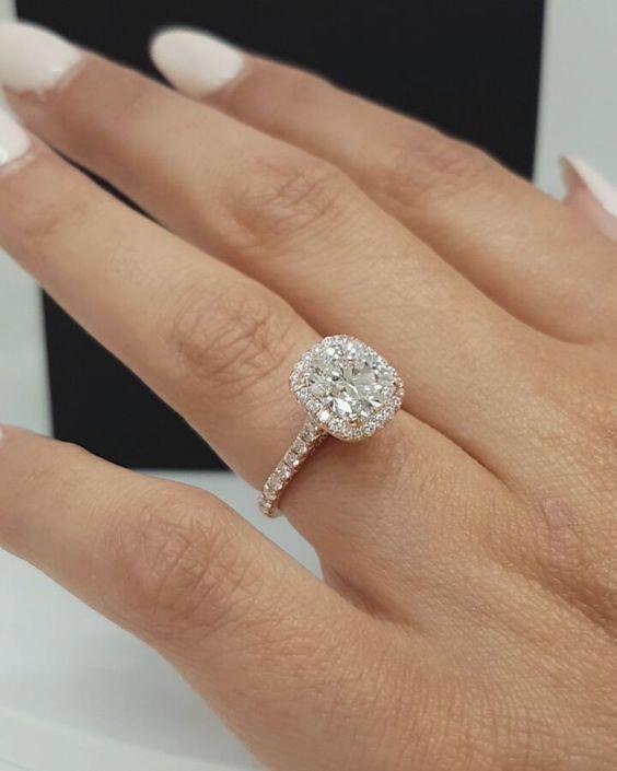 2.50Ct Cushion-Cut Halo VVS1 Diamond Engagement Wedding Ring Real 14k Rose Gold #Vivre #SolitaireWithAccents #engagementringshalo #cushionengagementring