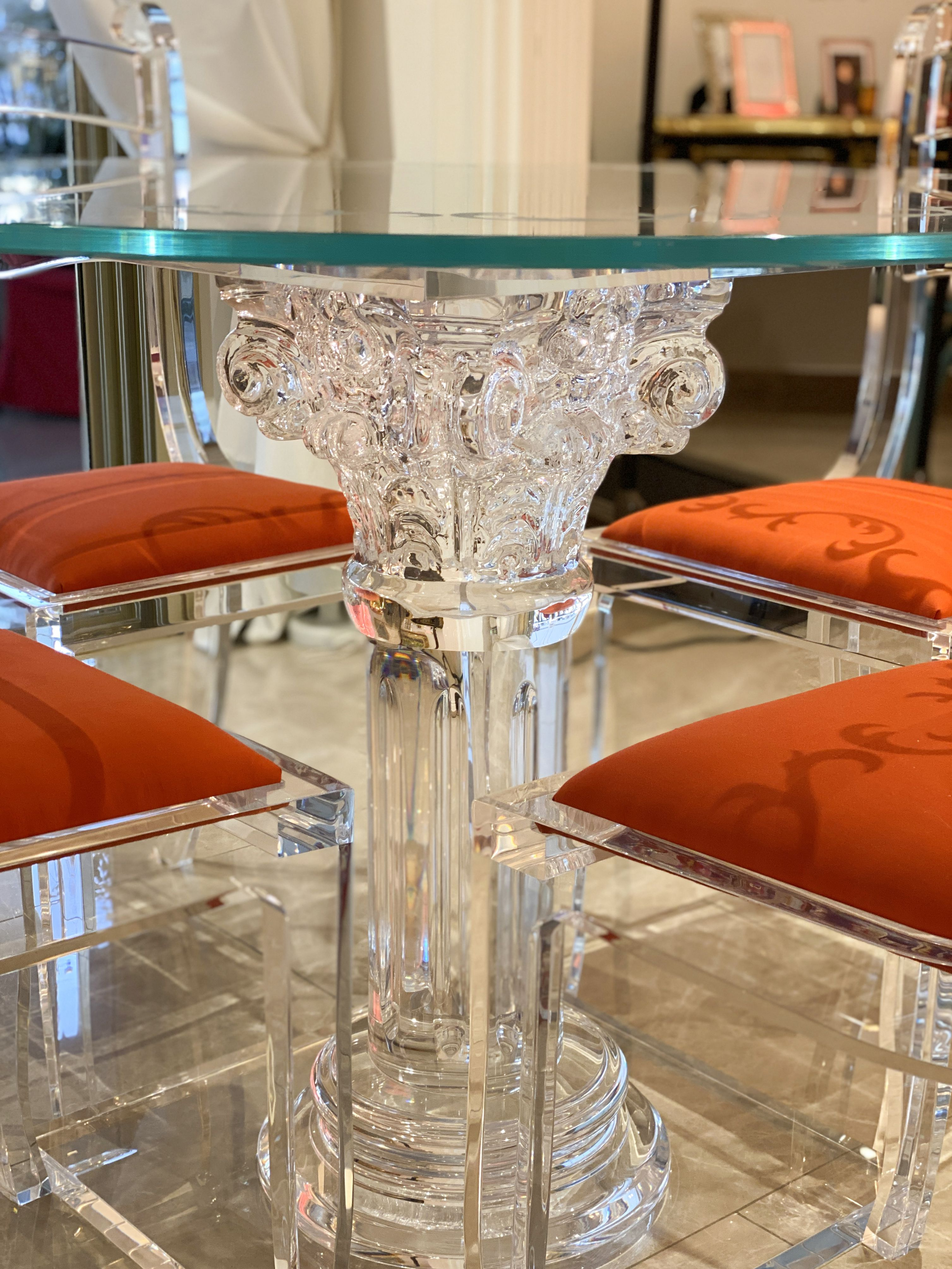 Acrylic lucite dining table with acrylic chairs | Tavoli ...