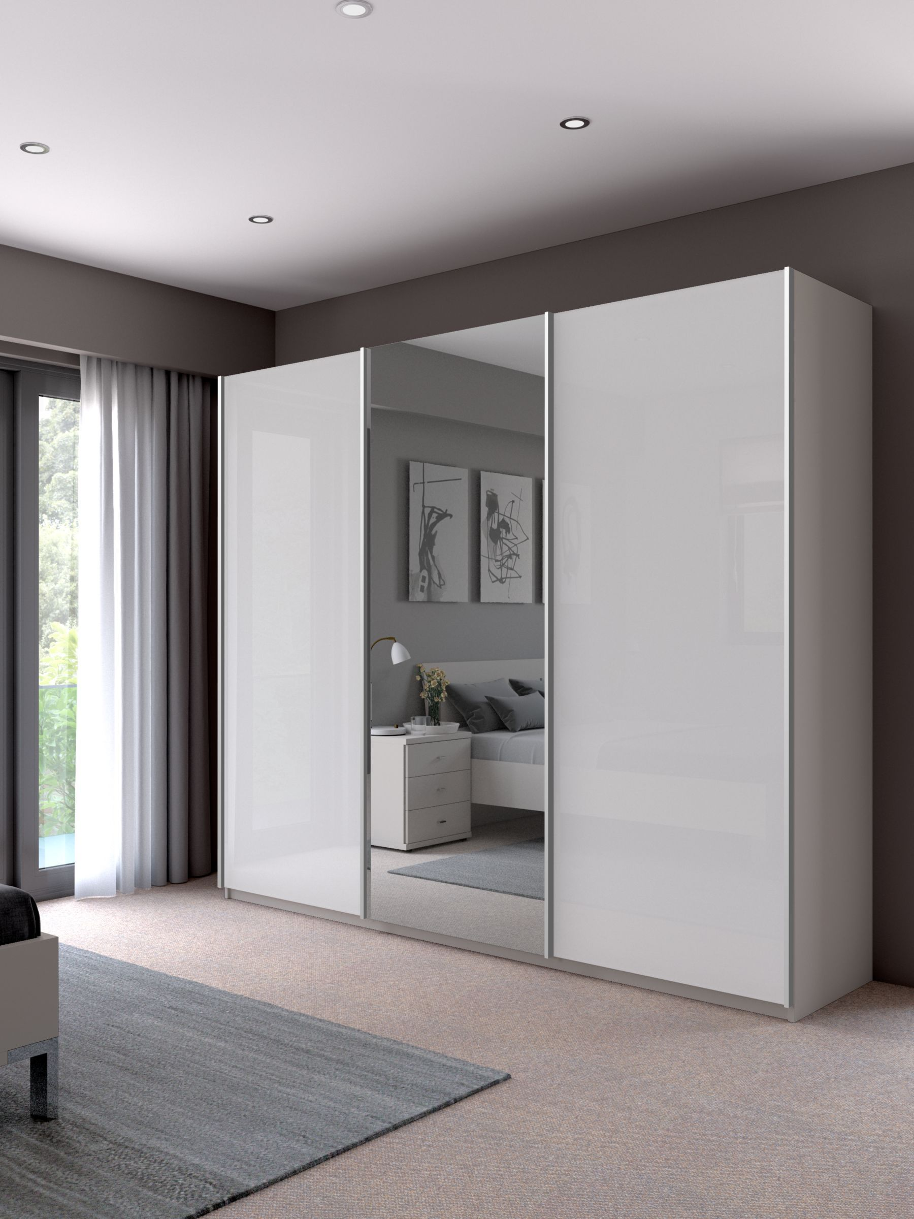 John Lewis Partners Elstra 250cm Wardrobe With Glass And Mirrored Sliding Doors White Glass Mat In 2020 Wardrobe Design Bedroom Wardrobe Door Designs Wardrobe Doors