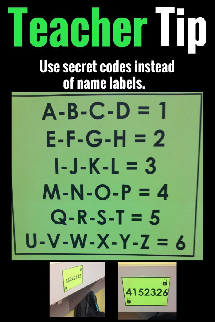 COOL IDEA: Use secret codes instead of name labels.