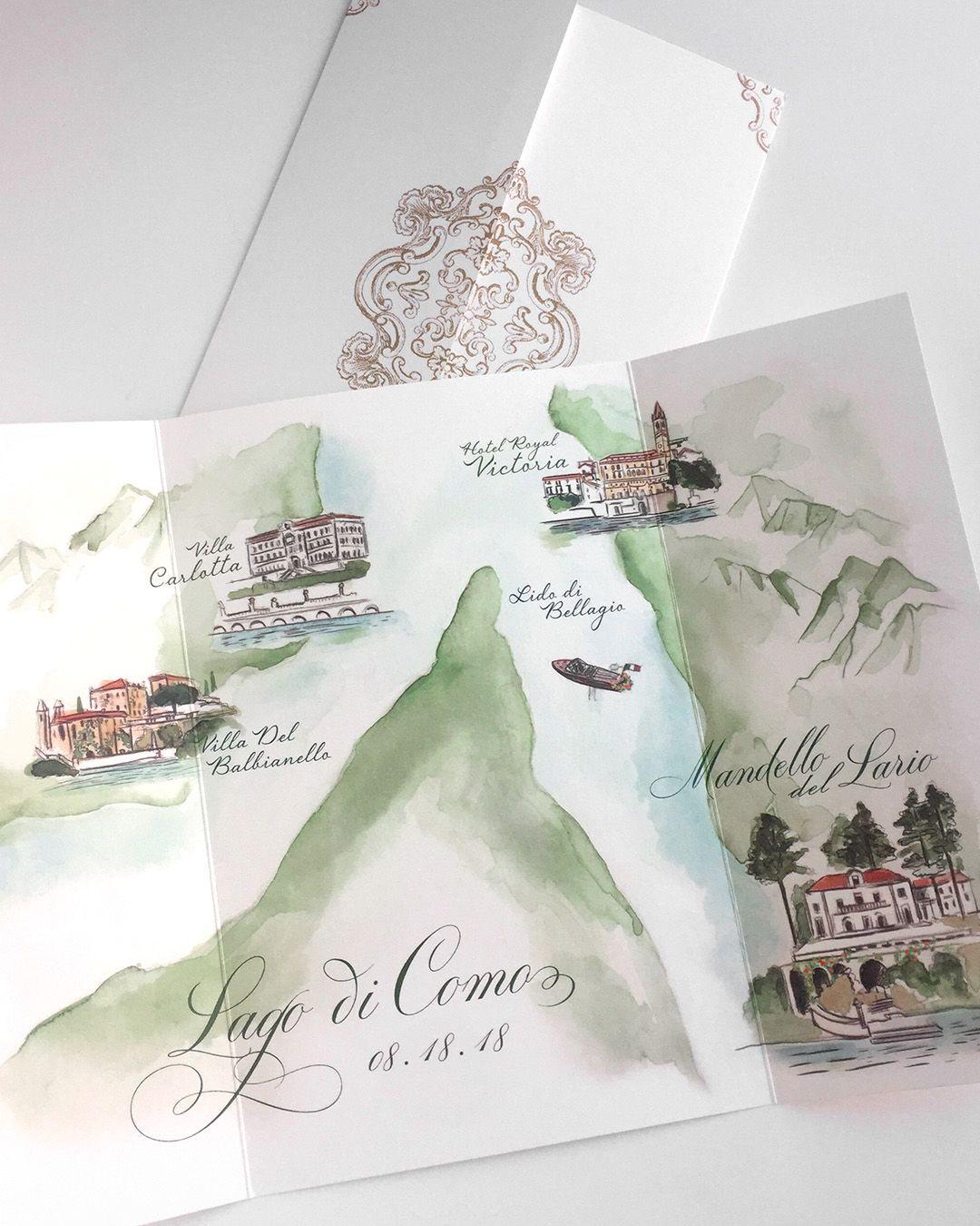 Watercolor Map Of Lake Como For An Italian Destination Wedding By