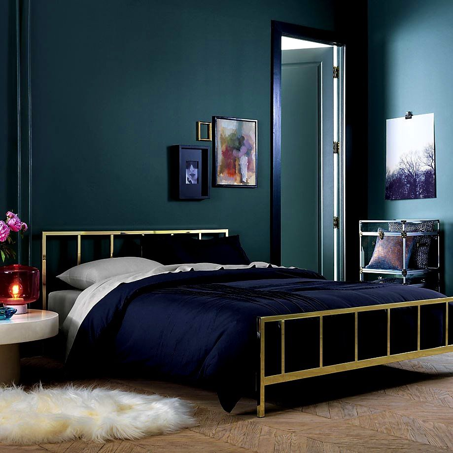 Decorating. Modern Dark Grey And Deep Blue Bedroom Design