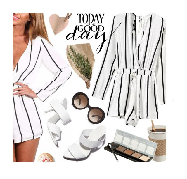 """Today is a good day"" by julesdiaries ❤ liked on Polyvore featuring Alexander Wang, Prada, stripes and romper"