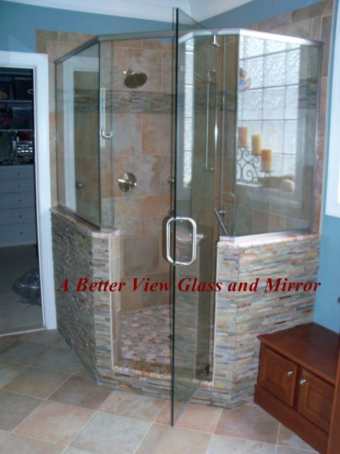 Custom Glass Neo Angle Shower Door With Brushed Nickel