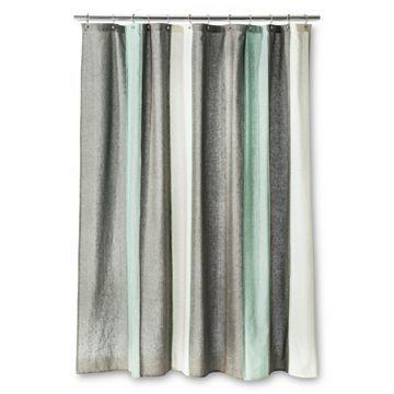 blanket stripe shower curtain gray