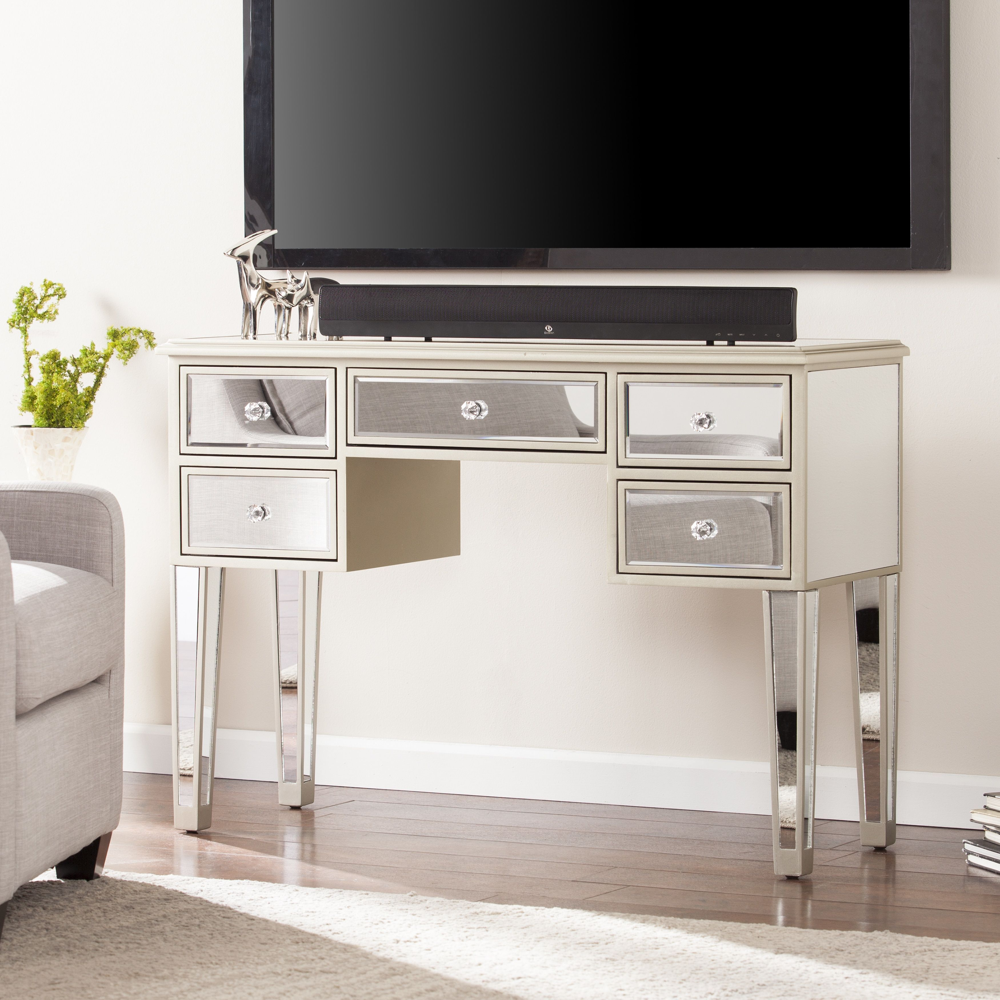 Minna Glam Mirrored Console Desk Champagne Glam Mirror Sofa End Tables Console Table