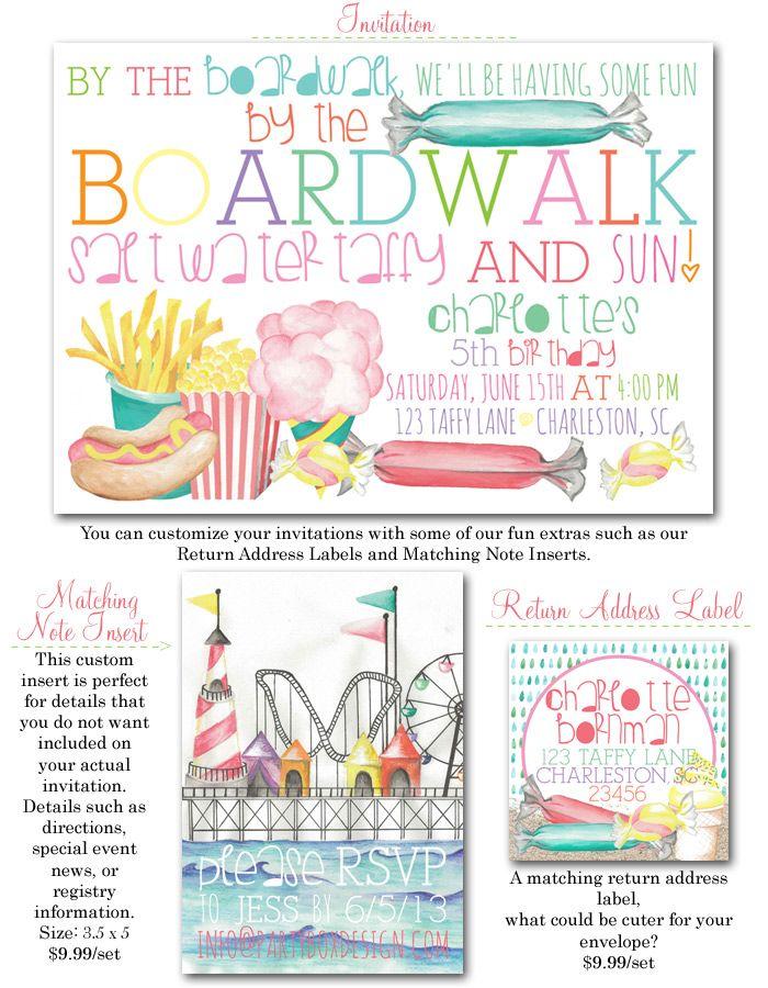boardwalk, boardwalk party invite, salt water taffy, girl party ...