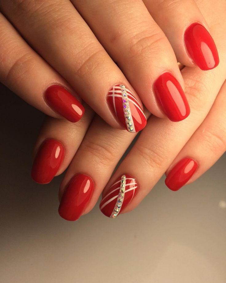 red nail art design 2018