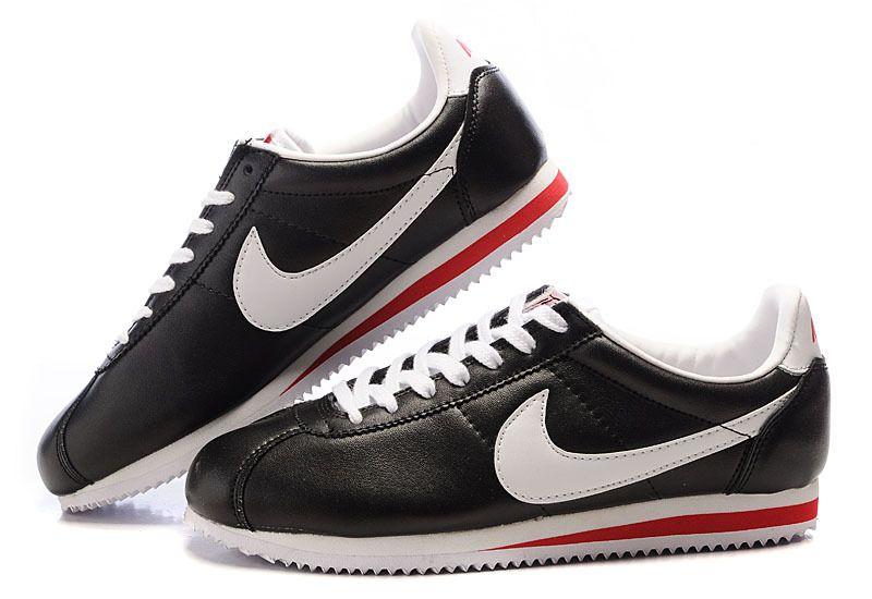 tout neuf e1d9a 577a6 A Prix Réduit Nike Cortez Peau Noir Blanc Homme   Nike Air ...
