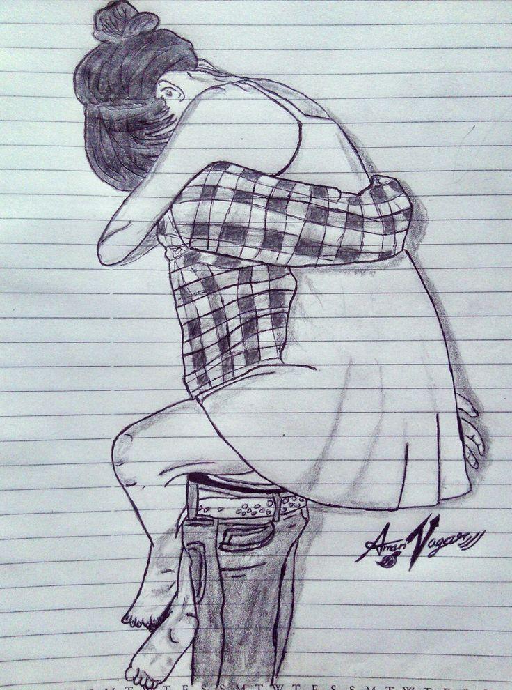 @amannagar_artist love_sketch Couples sketch Hug sketch ...