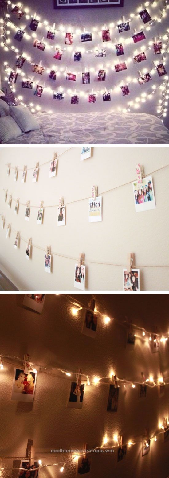 Adorable Polaroid Wall With String Lights  24 DIY Teenage Girl Bedroom Decorating Ideas The post Polaroid Wall With String Lights  24 DIY Teenage Girl Bedroom Decorating