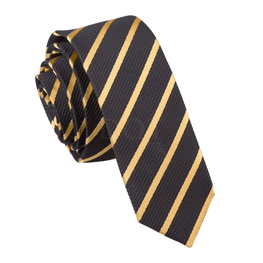 DQT Woven Striped Yellow Black Formal Casual Mens Classic Tie