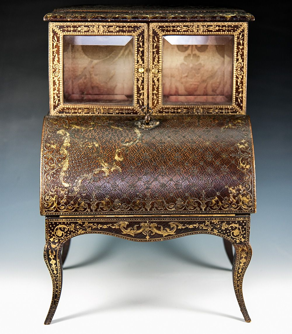 RARE Antique French Miniature Secretary, Desk, Palais Royal Gold from  antiques-uncommon- - RARE Antique French Miniature Secretary, Desk, Palais Royal Gold