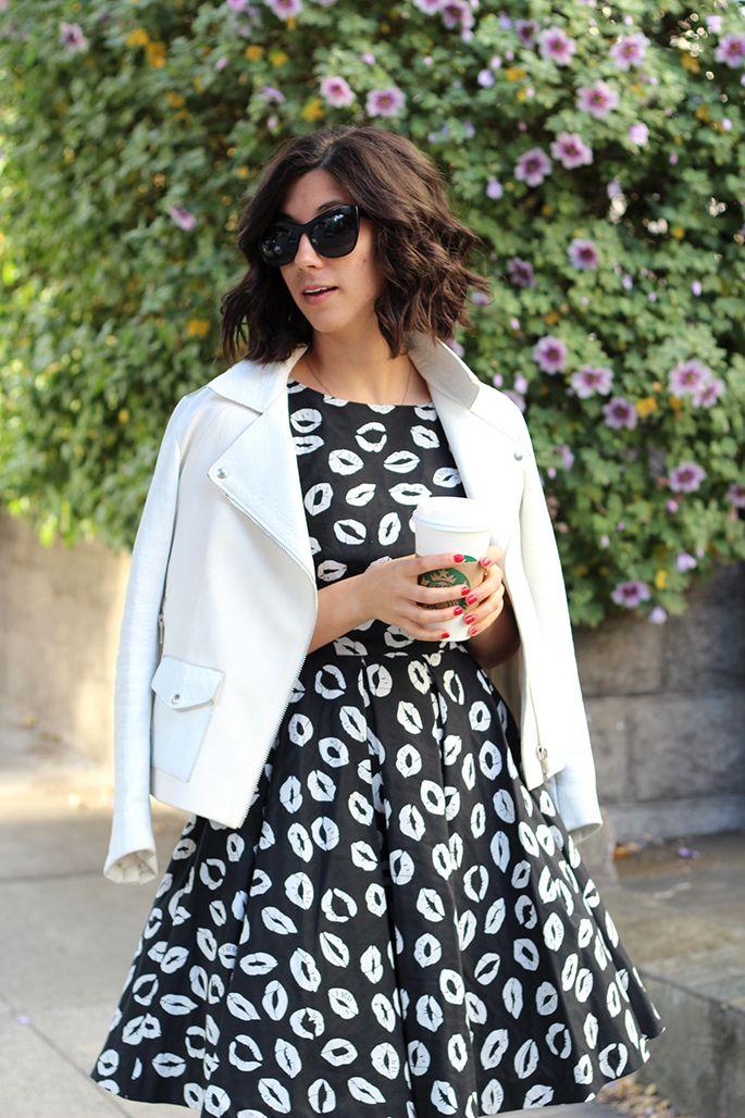 Combinar vestido blanco y negro