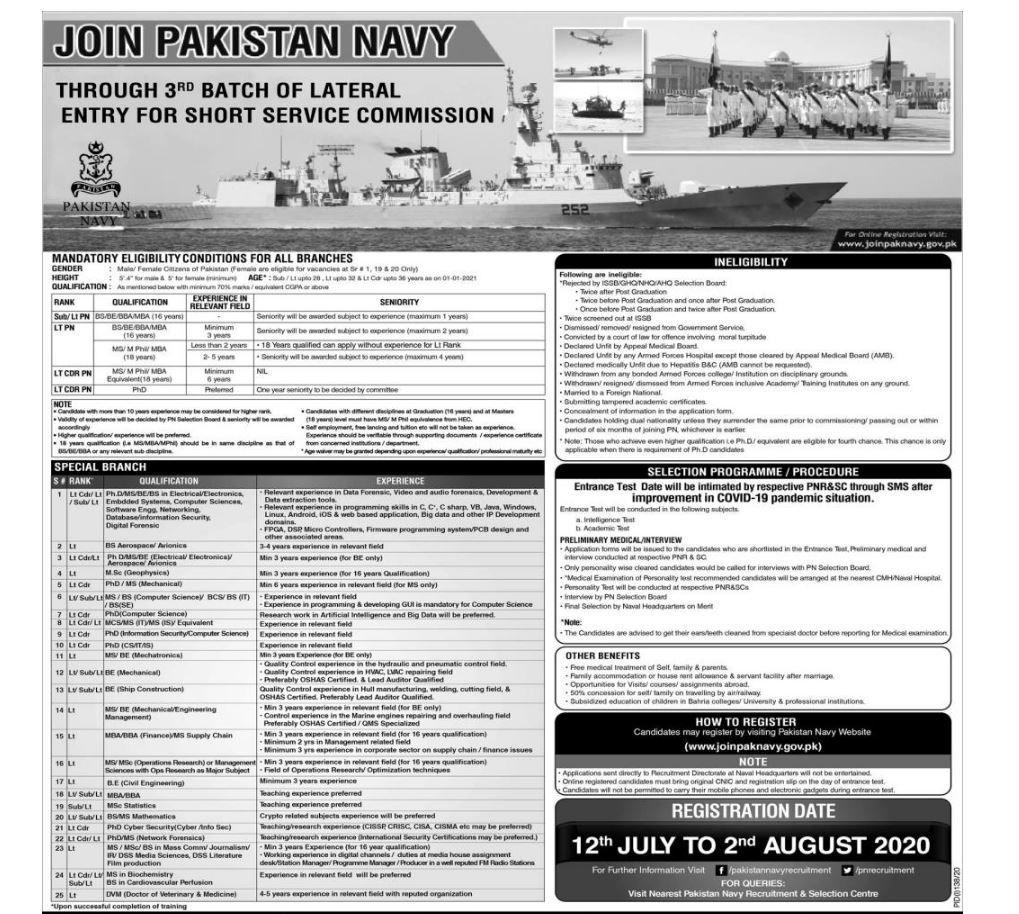 Join Pak Navy As Short Service Commission Jobs 2020 Pak Mazdoori In 2020 Navy Jobs Jobs In Pakistan Air Force Jobs