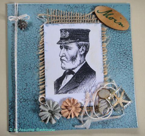Eine maritime Gruß- und Glückwunschkarte,  gestempelt mit einem Kapitän