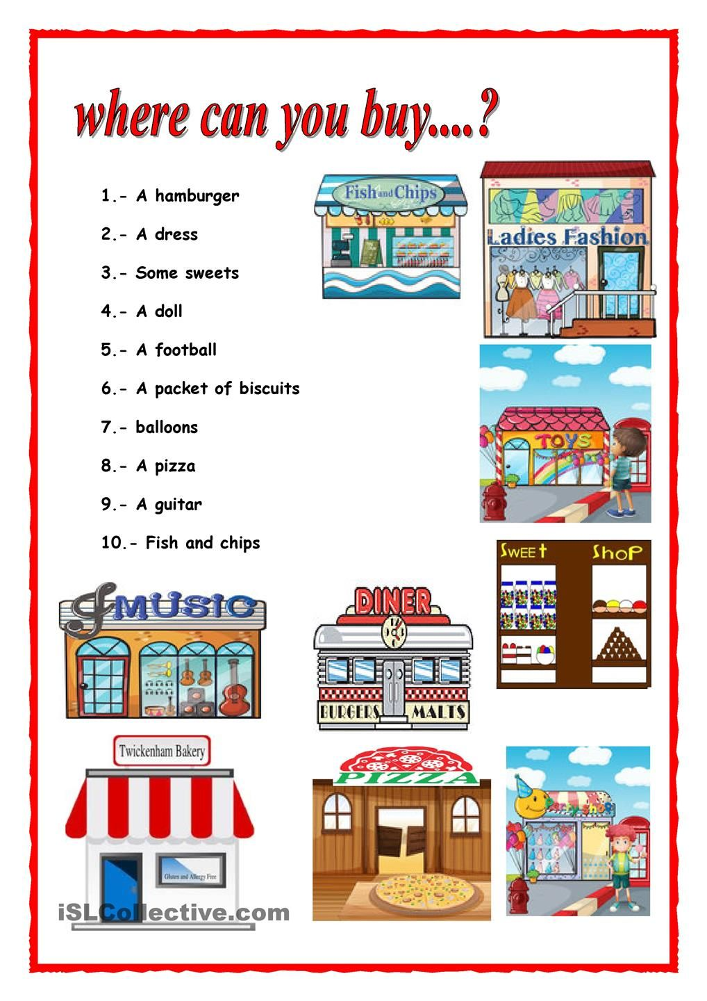 Places quiz worksheets vocabulary pinterest worksheets shopping in town robcynllc Image collections
