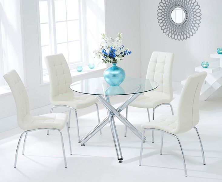Orino 100cm Glass Dining Table With Calgary Chairs Glass Dining Table Square Dining Tables White Dining Chairs