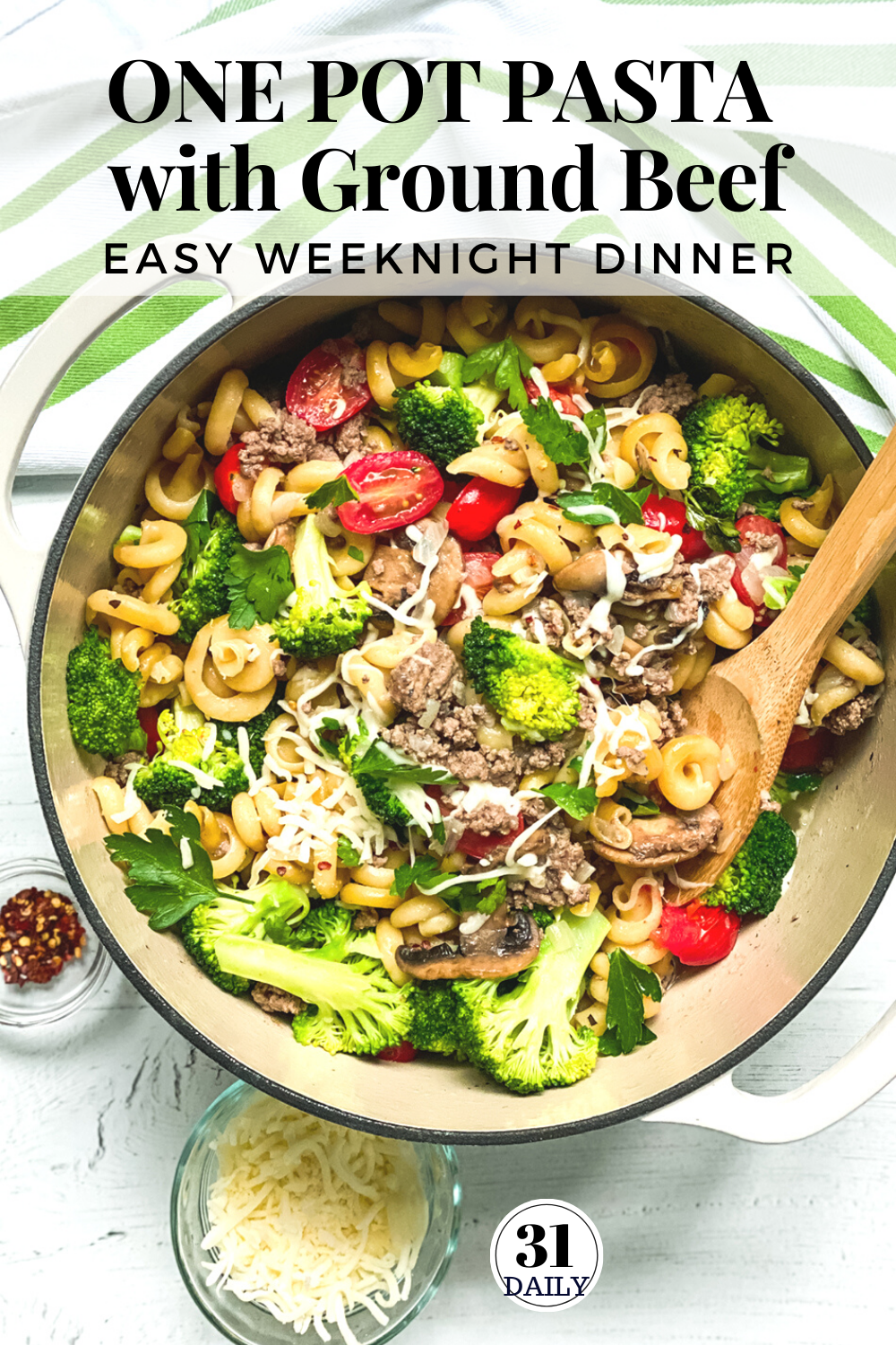Easy One Pot Pasta With Ground Beef And Broccoli Recipe In 2020 One Pot Pasta Easy Pasta Recipes Weeknight Dinner Pasta