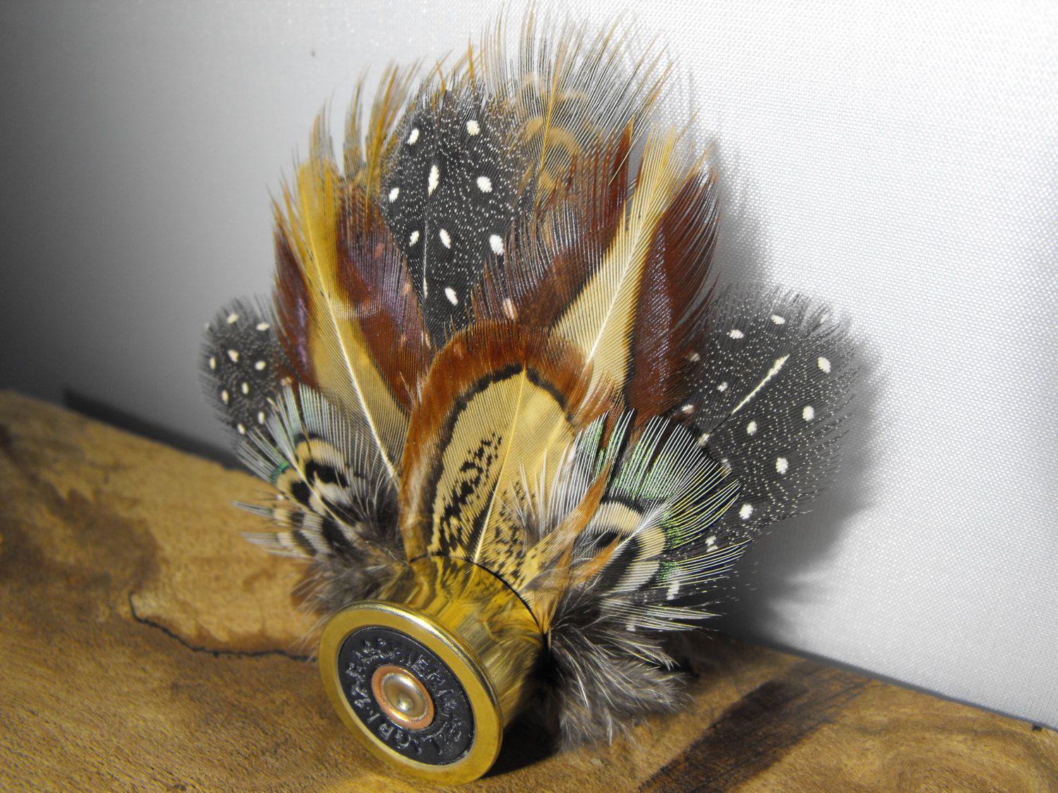 c9f2eb040e7f Pheasant feather and Guinea fowl feather hat pin, feather brooch, shotgun  shell jewelry,