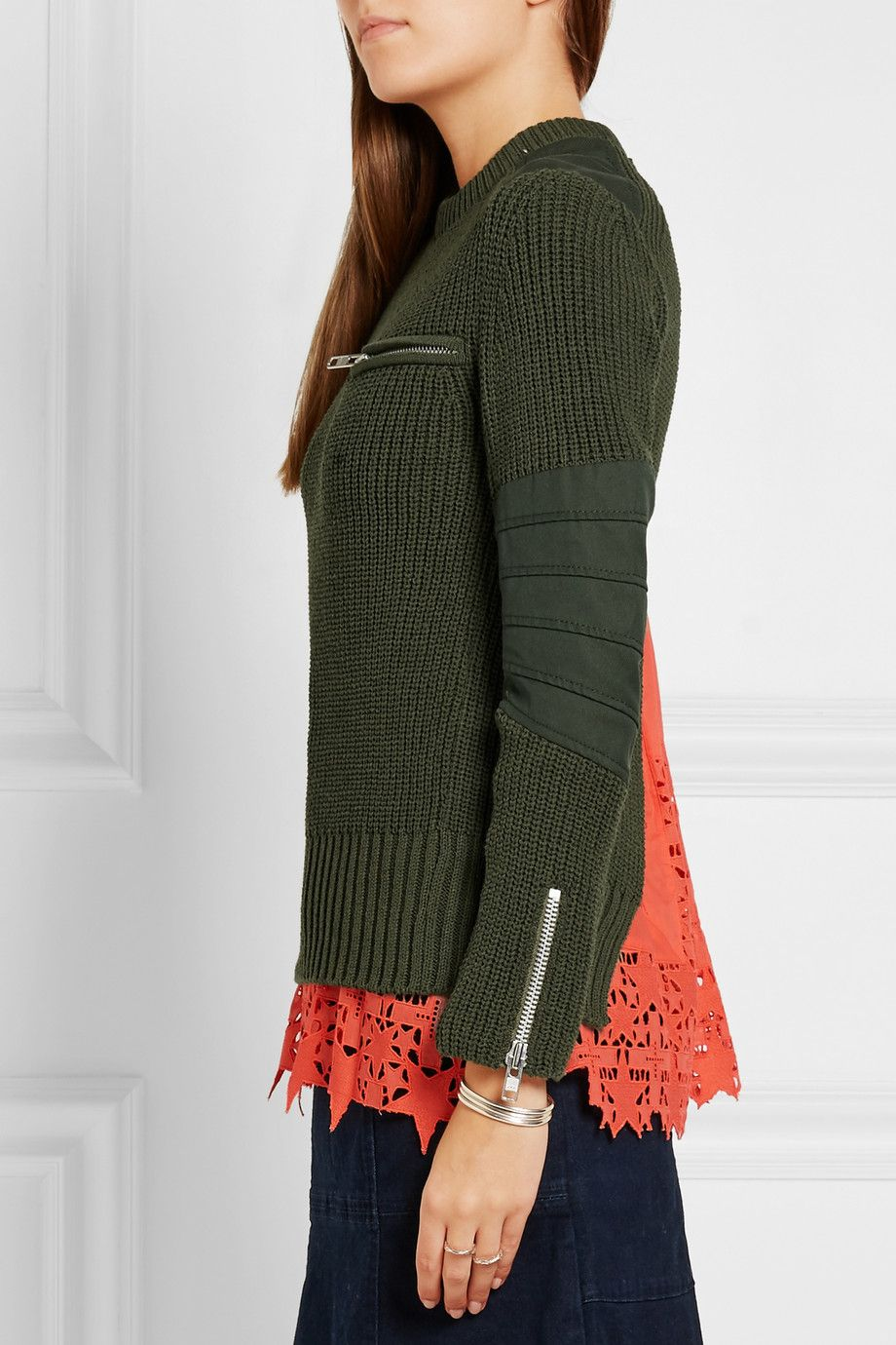 Sacai | Broderie anglaise-paneled cotton-blend sweater | NET-A-PORTER.COM