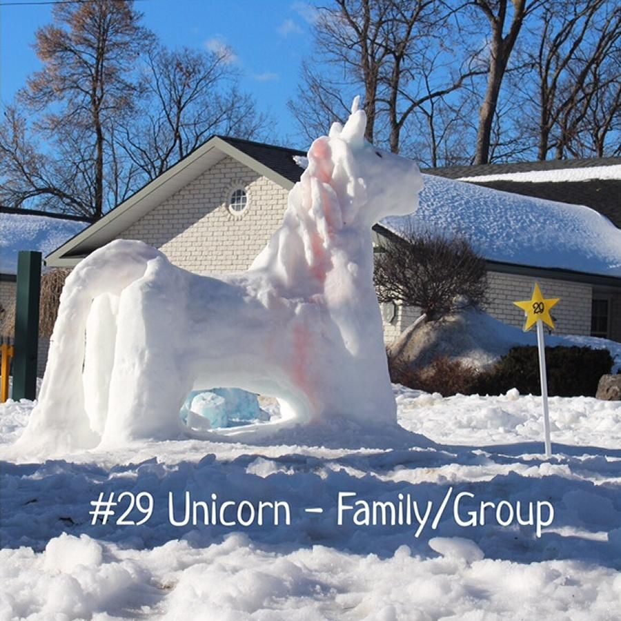 Snow sculpture winners at Bobcaygeon's Family FrostFest. Inaugural event held February 18 to 20 at Lock 32 park attracted hundreds of residents.