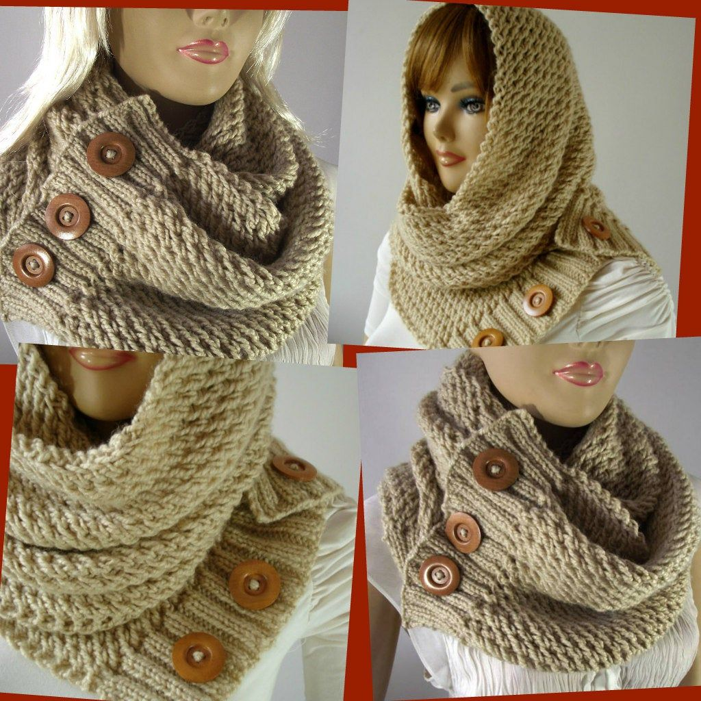 KNITTING PATTERN SCARF Hood Cowl - LouLou Scarf Hooded ...