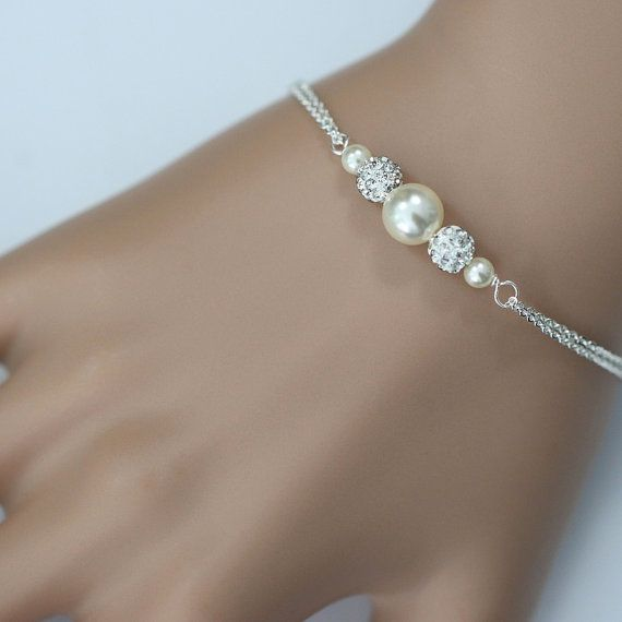 Bridesmaid Pearl Bracelet Personalized Swarovski Ivory Jewelry Gift Wedding