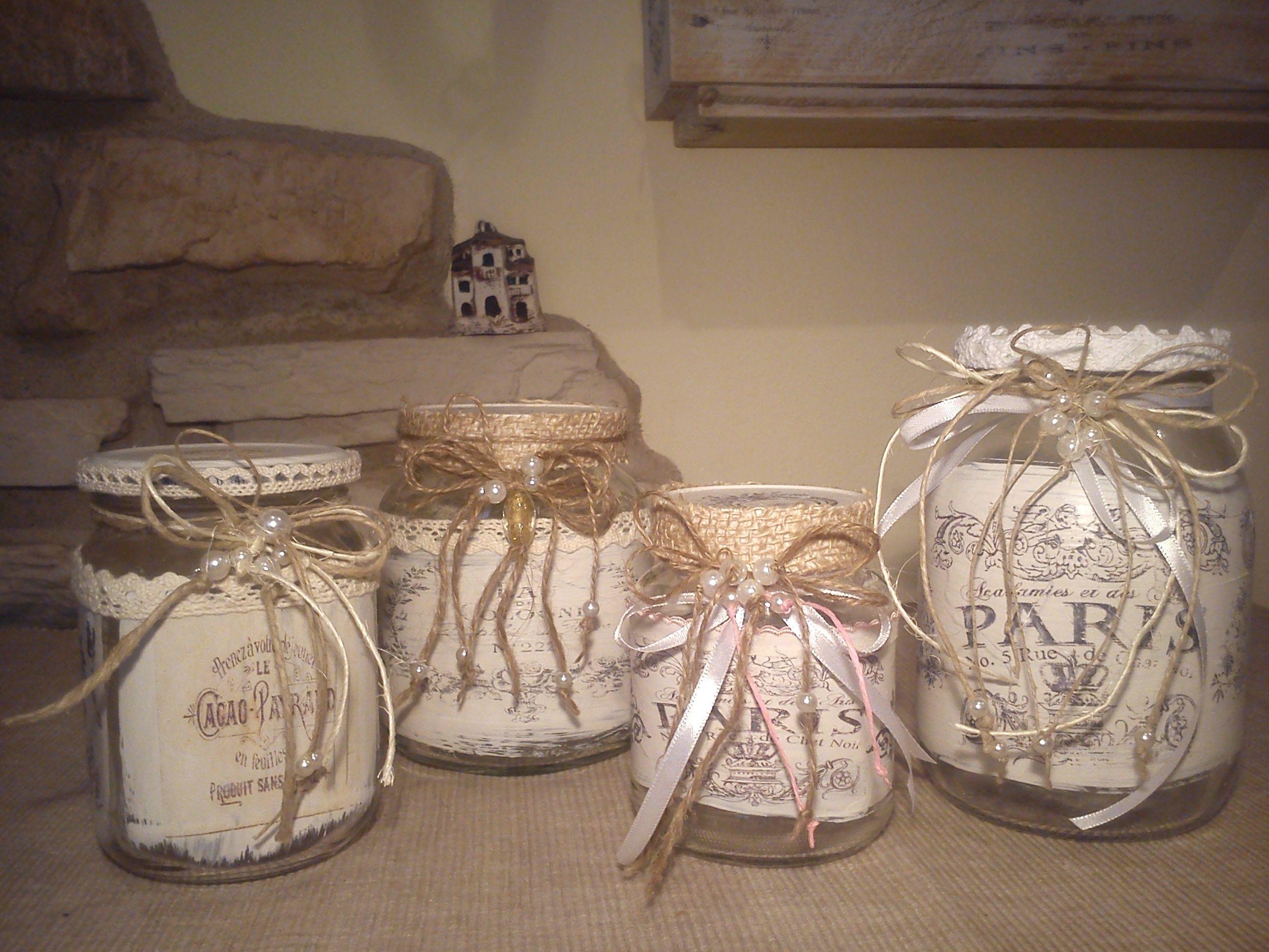 Decorazione Vasetti Vetro.Vasetti Riciclati In Vetro E Decorati In Stile Shabby Chic