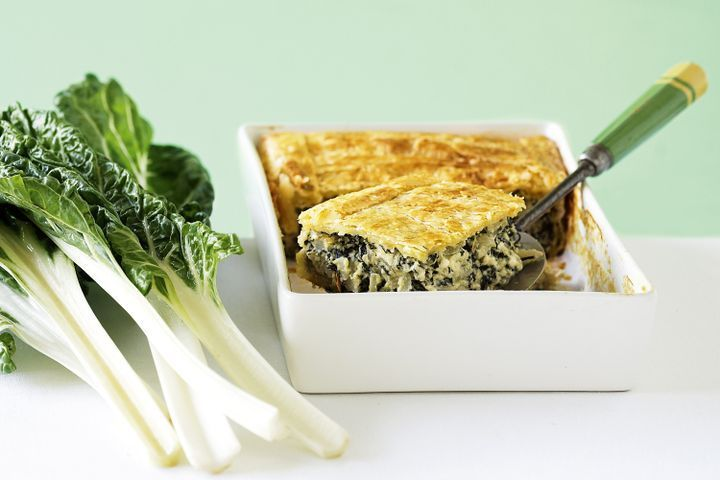 Silverbeet pie with 1 bunch of chard, feta, ricotta, eggs, and phyllo dough