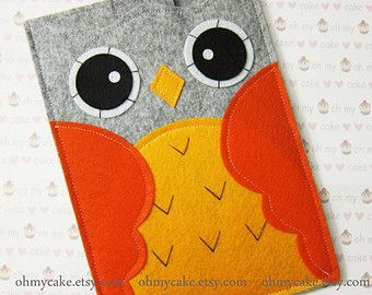 "Kindle sleeve, Kindle case, Kindle Fire sleeve, Kindle Fire case, Kindle Paperwhite cover, Kindle Touch case, Kindle cover,""grey&orange owl"""