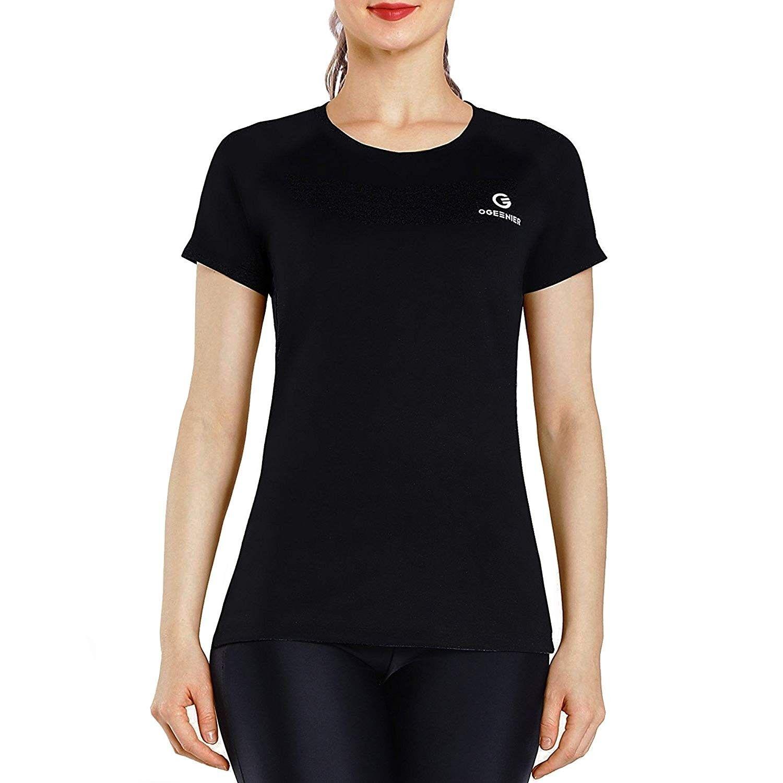 Women's Long Short Sleeve Athletic Workout Yoga Shirts Running Gym Tops - 03-Black - CS18DA49HRI - S...